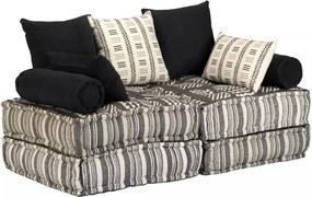 Sofá-cama modular de 2 lugares em tecido às riscas