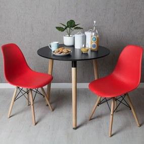 Conjunto Mesa Tower Redonda 80 cm Preta e Pack 2 Cadeiras Tower Basic