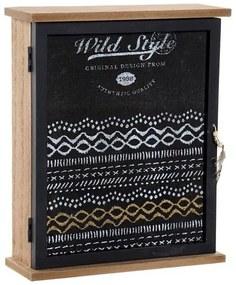 Armário para chaves DKD Home Decor Wild Style Preto Cristal Madeira MDF (22 x 7 x 26 cm)