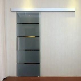 HOMCOM Porta de correr de vidro translúcido com listras transparentes vidro e liga de alumínio 77,5 x 205cm