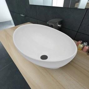 140674 vidaXL Lavatório de luxo em cerâmica oval 40 x 33 cm branco