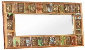 321816 vidaXL Espelho com budas 110x50 cm madeira recuperada maciça
