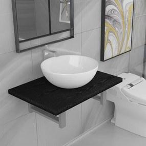 279336 vidaXL Conjunto de móveis de casa banho 2 peças cerâmica preto