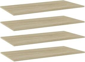 Prateleiras estante 4pcs 80x30x1,5cm contraplacado cor carvalho