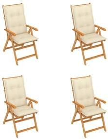 3065547 vidaXL Cadeiras de jardim c/ almofadões cor creme 4 pcs teca maciça