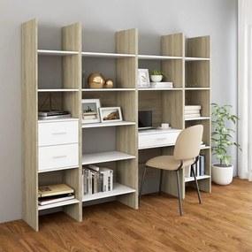 3079597 vidaXL 4 pcs conjunto de estantes contraplacado branco/carvalho sonoma