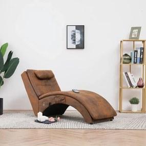 Chaise longue massagem c/ almofada camurça artificial castanho