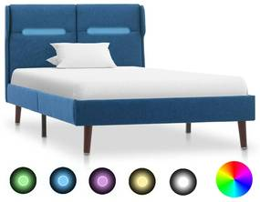 286896 vidaXL Estrutura de cama com LED 100x200 cm tecido azul