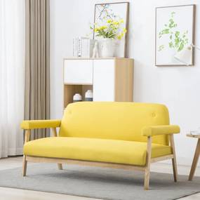 246653 vidaXL Sofá de 3 lugares em tecido amarelo