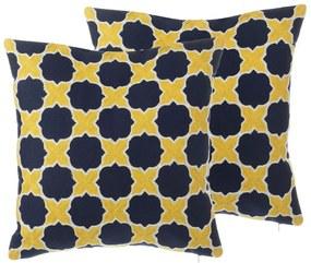 Conjunto de 2 almofadas decorativas amarelas e azuis 45 x 45 cm MUSCARI