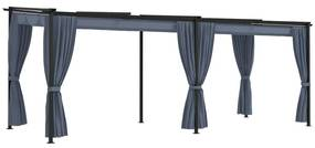 48055 vidaXL Gazebo com cortinas 3x6 m aço antracite