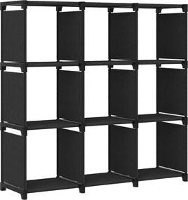 Unidade de prateleiras 9 cubos 103x30x107,5 cm tecido preto