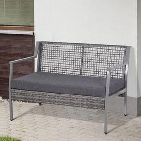 Sofá de Dois lugares de vime com Almofada Removível para jardim varanda cor Cinza 118x75x79 cm