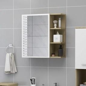 803313 vidaXL Armário casa banho espelho 62,5x20,5x64cm cont. branco/carvalho