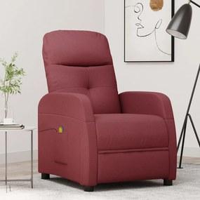289829 vidaXL Poltrona de massagens reclinável tecido vermelho tinto