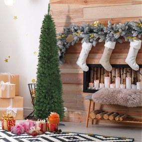 HOMCOM Árvore de Natal Artificial 210cm Ignífugo com 499 Pontas de Ramo PVC e Suporte de Metal Decoração de Natal para Interiores Fácil de Montar Verde