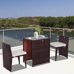Outsunny Conjunto de mobiliário de exterior 1 Mesa e 2 Cadeiras cor Castanho