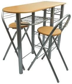 240096 vidaXL Conjunto de mesa e cadeiras cozinha/bar madeira