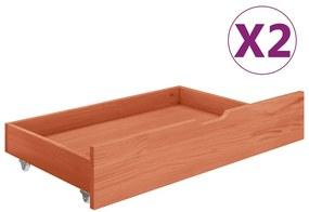 321987 vidaXL Gavetas de cama 2 pcs madeira de pinho maciça castanho mel