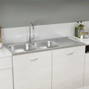 147238 vidaXL Lava-louça cozinha + cuba dupla 1200x500x155 mm inox prateado