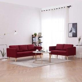 276857 vidaXL 2 pcs conjunto de sofás tecido vermelho tinto