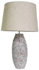 Lâmpada de Mesa DKD Home Decor Branco Linho Resina Folhas (35 x 35 x 61 cm)