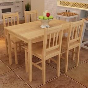 241220 vidaXL Conjunto Mesa com 4 Cadeiras / Madeira