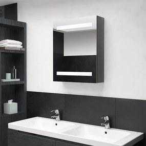 326483 vidaXL Armário espelhado casa de banho LED 50x14x60 cm cinza brilhante