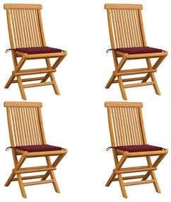3062577 vidaXL Cadeiras jardim c/ almofadões vermelho tinto 4 pcs teca maciça