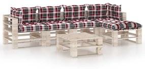 3066321 vidaXL 6 pcs conj. lounge de paletes p/ jardim com almofadões pinho