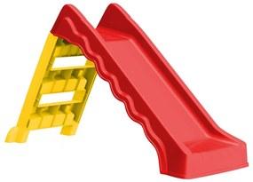 92578 vidaXL Escorrega dobrável infantil interior/exterior vermelho/amarelo