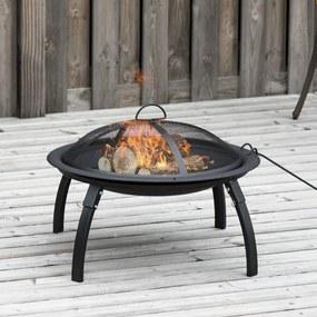 Outsunny Braseiro ao ar livre Ø56 cm Fogueira Portátil para aquecimento varanda churrasco jardim com cobertura de rede Preto