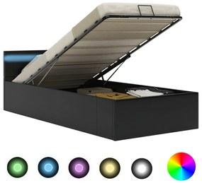 285541 vidaXL Cama hidráulica c/ arrumação LED 100x200cm couro artifi. preto