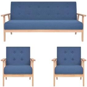 279146 vidaXL 3 pcs conjunto de sofás tecido azul