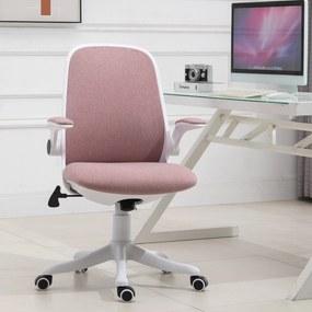 Vinsetto Cadeira de escritório giratória Função de inclinação Altura Ajustável com Carga 120 kg 62,5x60x90-98 cm Rosa