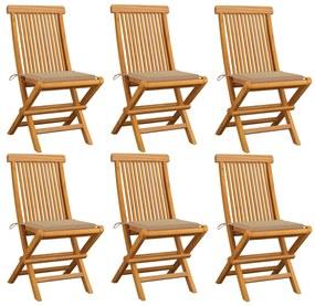 3065593 vidaXL Cadeiras de jardim c/ almofadões beges 6 pcs teca maciça