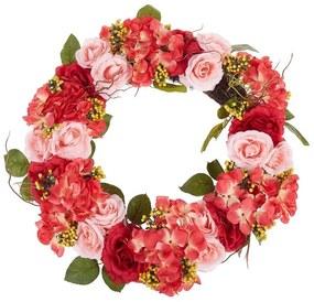 Grinalda para porta ø 50 cm vermelho e rosa AGULO