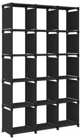 322618 vidaXL Unidade de prateleiras 15 cubos 103x30x175,5 cm tecido preto