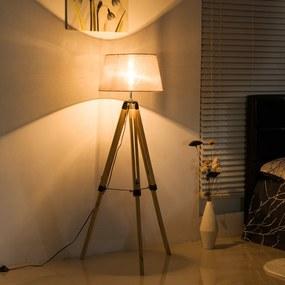 HomCom Candeeiro de Pé Moderno, com Tripé Altura Regulável de Madeira e Abajur de Linho - 65x65x99-143 centímetros