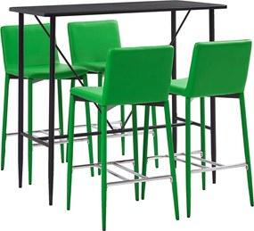 Conjunto de Bar Couro Artificial Verde 5 Peças