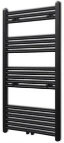 141908 vidaXL Aquecedor toalhas casa de banho liso 600 x 1160 mm preto