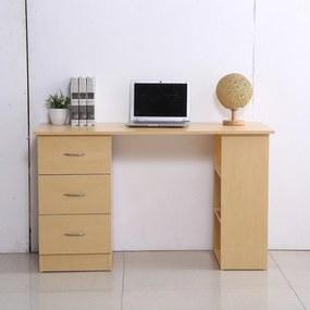 HOMCOM Mesa de computador para casa Escritório 3 gavetas 3 prateleiras móveis de escritório 120x49x72cm