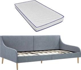 Sofá com colchão espuma de memória tecido cinzento-claro