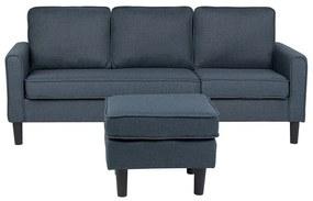 Sofá de 3 lugares com repousa-pés em tecido cinzento escuro AVESTA
