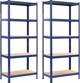 Prateleiras de Arrumação 2 Un. Azul 80x40x180 cm Aço e Mdf