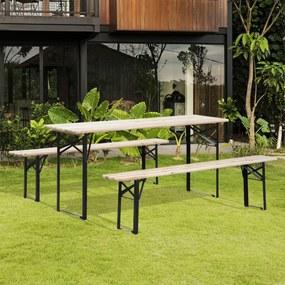 Outsunny Conjunto de móveis de piquenique Madeira natural de aço 180x25x45 cm