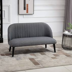 HOMCOM Sofá de 2 lugares com encosto alto e pernas de madeira Desenho elegante 114x57x70 cm cinza