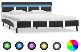 280308 vidaXL Estrutura de cama c/ LED 120x200 cm couro artificial cinzento