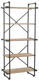 246423 vidaXL Estante em madeira de abeto maciça e aço 80x42x180 cm