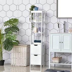 Kleankin Armário de banheiro alto Multiuso 3 prateleiras 2 gavetas 30x30x144 cm Branco